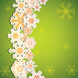 Abstract winter green snowflakes Stock Images