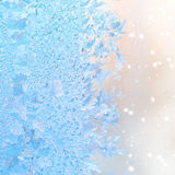 Abstract winter ice patterns on window, Christmas background, cl Royalty Free Stock Photo