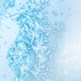 Abstract winter ice texture on window, festive background, close Royalty Free Stock Photo