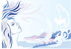 Abstract winter landscape. With silhouette of girl Royalty Free Stock Images