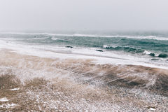 Abstract winter landscape of beach during a snowfall and wind Stock Images