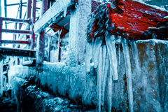 Abstract winter landscape with icicles Royalty Free Stock Images