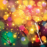 Abstract winter New Year background. With fireworks and blurred lights Stock Image