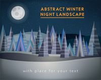 Abstract winter night landscape with forest and starry night sky Stock Image
