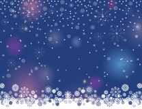 Abstract winter night lights blurry background for your Merry Christmas and Happy New Year design. Falling snow magic border on a dark blue background. Abstract stock illustration