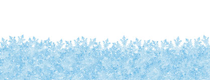 Abstract Winter Panorama Backdrop with White Background and Froz. En Snowflakes on the Ground. Horizontal Banner, Website Head Template royalty free illustration