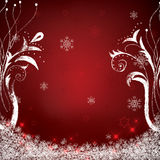 Abstract winter red snowflakes. Background Stock Image
