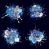 Abstract winter sales splash labels of blue and white shades. Big winter sale. Special winter sale. Vector hand drawing labels. Wi Stock Photos