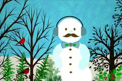 Free Abstract Winter Scene With Modern Snowman Royalty Free Stock Images - 35011859