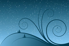 Abstract winter scrolls. With snowflake and Christmas tree Royalty Free Stock Photo