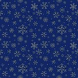 Abstract winter seamless pattern. With gold snowflakes on dark blue background. Can be used for wallpaper, wrapping, textile, web page background, greeting Stock Image