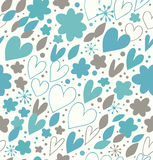 Abstract winter seamless pattern with many cute details. Decorative doodle background with hearts and flowers. Hand drawn damask texture for wallpapers, crafts Royalty Free Stock Photos