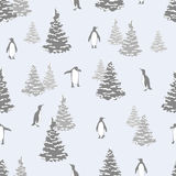 Abstract winter seamless pattern with penguins and fir trees. Vector Christmas background Royalty Free Stock Photography