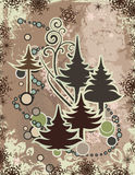 Abstract winter series. Abstract winter grunge background with pine trees and snowflakes. EPS file available Stock Photo