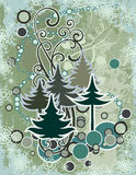 Abstract winter series. Abstract winter grunge background with pine trees, snowflakes and swirl details Royalty Free Stock Image