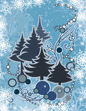 Abstract winter series. Abstract winter grunge background with pine trees and snowflakes, designed in blue colors. EPS file available Royalty Free Stock Photography