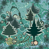 Abstract winter series. Abstract winter grunge background with pine trees, snowflakes and swirl details, designed in green colors. EPS file available Stock Image