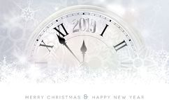 Segment of abstract old clock with 2019 new year number. Abstract winter snowy background with segment of abstract old clock with 2019 new year number - Merry royalty free illustration