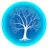 Abstract winter tree with bare branches on a blue background.  Royalty Free Stock Photo