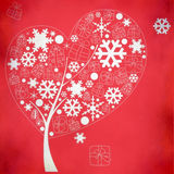 Abstract winter tree with snowflakes Royalty Free Stock Images
