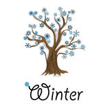 Abstract winter tree with snowflakes Royalty Free Stock Photo