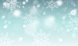Abstract  winter wallpaper. Snowflakes, circles and glowing elements. Abstract winter banner. Snowflakes, circles and glowing elements. Vector illustration Royalty Free Stock Photos