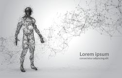Free Abstract Wire Frame Human Body. Polygonal 3d Model On White Background. Dots And Lines Low Poly Royalty Free Stock Images - 107747539