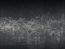 Abstract wire frame mesh structure, dark wall Stock Images