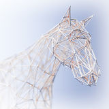 Abstract Wired Low Poly Horse. 3d Rendering Royalty Free Stock Photo