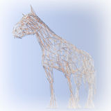 Abstract Wired Low Poly Horse. 3d Rendering Royalty Free Stock Photography
