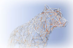 Abstract Wired Low Poly Wolf or Dog. 3d Rendering. Abstract Wired Low Poly Wolf or Dog on a blue background. 3d Rendering Stock Photos