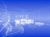 Abstract wireframe blue interior. Abstract wireframe interior of living-room open space over blue gradient background Stock Photography