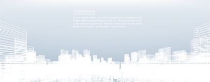 Abstract wireframe city background. Perspective 3D render. stock illustration