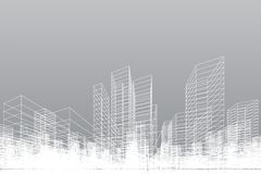 Abstract wireframe city background. Perspective 3D render of building wireframe. Vector. Illustration stock illustration