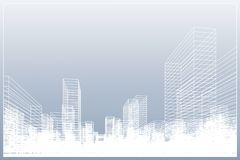 Abstract wireframe city background. Perspective 3D render of building wireframe. Vector illustration royalty free illustration