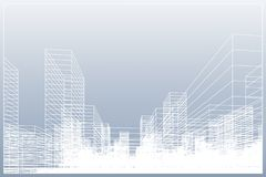Abstract wireframe city background. Perspective 3D render of building wireframe. Vector. Illustration vector illustration
