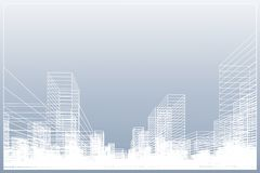 Abstract wireframe city background. Perspective 3D render of building wireframe. Vector. Illustration royalty free illustration