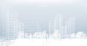Abstract wireframe city background. Perspective 3D render. Abstract wireframe city background. Perspective 3D render of building wireframe. Vector illustration royalty free illustration