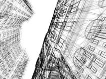 Abstract wireframe of 3D architecture Royalty Free Stock Image