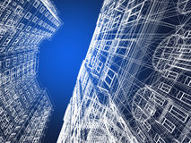 Abstract wireframe of 3D architecture. Design royalty free illustration
