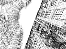 Abstract wireframe of 3D architecture. Design stock illustration