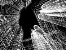 Abstract wireframe of 3D architecture Stock Photos