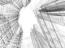 Abstract wireframe of 3D architecture. Design Royalty Free Stock Images