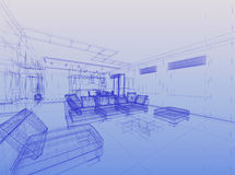 Abstract wireframe interior. Of living-room open space over blue gradient background Stock Image