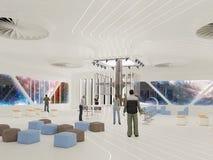Abstract wit binnenland van de toekomst het 3D illustratie en teruggeven Stock Afbeelding
