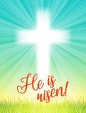 Abstract wit kruis met stralen en tekst is hij toegenomen, christelijke beweging veroorzakende Pasen, illustratie Stock Foto