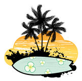 Abstract With Palm Trees And Surfboard Royalty Free Stock Photos