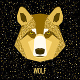 Abstract wolf. Golden sparkle glitter texture. Cartoon portrait for use in design for card, invitation, poster, banner, placard, diary, journal, brochures Stock Photography