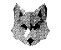 Abstract Wolf. Illustration of Abstract Wolf in portrait pose showing ears, eyes and beak constructed from various shapes of material paper for example keeping Stock Photo
