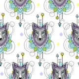 Abstract Wolf Watercolor Seamless Pattern Stock Foto